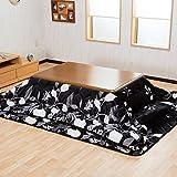 【ふわふわ素材 温かこたつ3点セット】(掛・敷・こたつ) 120cmテーブル(ブラウン色) 保温性が良いフランネルこたつ布団(ブラック色)