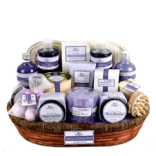 Valentines Day Gift Idea for Her - Lavender Vanilla Bath and Body Spa Basket for Women