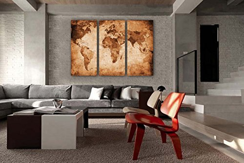 Art wall decor large world map print on canvas canvas prints map art wall decor 3 panel large world map pictures print on canvas gumiabroncs Gallery