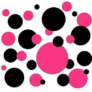 Amazon.com - Set of 130 Dark Pink and Black Polka Dots Wall Graphic