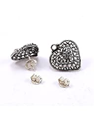 Silvesto India 2 Pear Shape Stud Earring With Push US 19866 Silver Platde Awesome Jewelry
