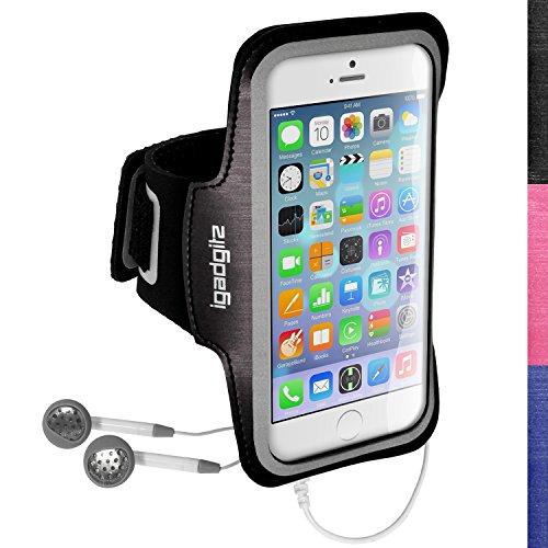 """igadgitz Riflettente Antiscivolo Nero Fascia da Braccia Sport Jogging Gym per Apple iPhone 6 & 6S 4.7"""" Con Chiave Tasca"""