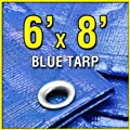 6' X 8' Blue Multi-purpose 6ml Waterproof Poly Tarp Cover with Tent Shelter Camping Tarpaulin By Prime Tarps sourcing is Prime Tarps