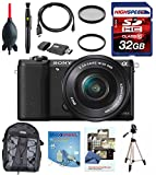 Sony a5100 16-50mm Interchangeable Lens Camera with 3-Inch Flip Up LCD (Black) w/ Full Size Tripod, Backpack, Filters, 32GB Memory