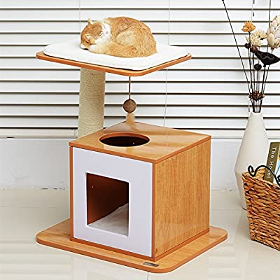 PawHut 63cm Wooden Cat Tree Condo Scratcher Post Pet Climbing Frame Kitty Kitten Scratching Play House Activity Center Sisal Tower w/ Hanging Toy
