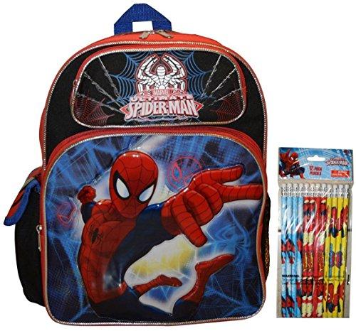 "Marvel Spiderman 14"" School Backpack With Bonus 12pk Pencils"