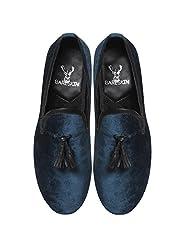 Bareskin Special Mens Handmade Blue Velvet Slipon With Tassel - Limited Edition(Made On Order)