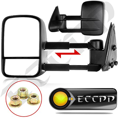 ECCPP Black Manual Telescoping Tow Towing Mirrors Side View Mirror Pair Set for 1999-2006 Chevy Silverado/ GMC Sierra Pickup all models; 2007 Chevy Silverado classic/ GMC Sierra(old model); 2000-2006 Chevy Tahoe/Suburban/ GMC Yukon Yukon XL; 2002-2006 Chevy Avalanche (2000 Gmc Sierra 3500 compare prices)