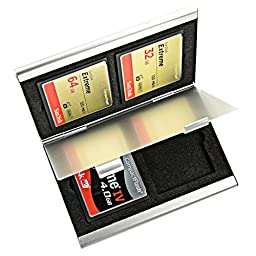 Foto&Tech Aluminum Memory Card Carrying Case 4 Slots for Compact Flash Card Lexar SanDIsk Kingston Sony