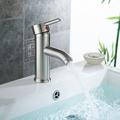 Aquafaucet Monoblock Bathroom sink vessel faucet Lavatory vanity mixer tap Brushed Nickel