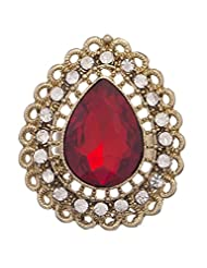 Crunchy Fashion Studded Marsala Royal Finger Ring For Girls