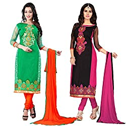 The Fashion World Combo of Black & Green Chanderi Embroidery Worked Dress Material