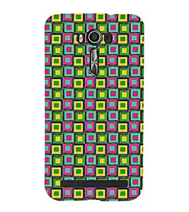 99Sublimation Checks and Square In Multi COLOUR Pattern 3D Hard Polycarbonate Back Case Cover for Asus Zenfone 2 Laser ZE500KL