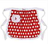 Disney Minnie Mouse Apron,red with White Polka Dots,pocket,ruffles,waist Ties