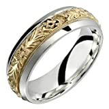 Orazio - Stunning Two Tone Comfort Fit Wedding Band for Him &amp; Her! Custom Made! Choose your Size.