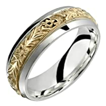.10 CT Diamond Accent Black Silver Two Tone Stripe Round Bezel Titanium Wedding Band Ring For Men Comfort Fit 7MM