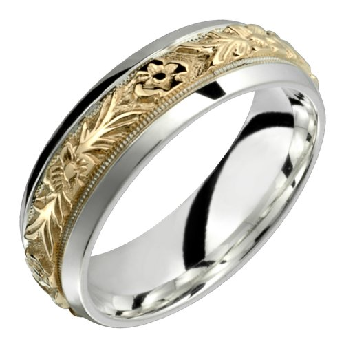 Orazio &#8211; Stunning Two Tone Comfort Fit Wedding Band for Him &#038; Her! Custom Made! Choose your Size.