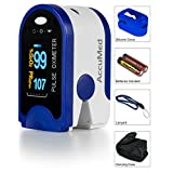 AccuMed® CMS-50D Pulse Oximeter Finger Pulse Blood Oxygen SpO2 Monitor w/ Carrying case, Landyard Silicon Case & Battery (Blue)