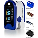 AccuMed CMS-50D Pulse Oximeter Finger Pulse Blood Oxygen SpO2 Monitor W Carrying Case Landyard Silicon Case Battery... - B00Y1KMDLY