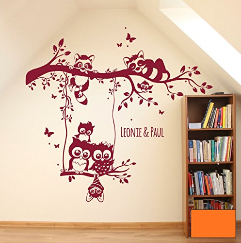 Graz-design-sticker-mural-motif-chouettes-sur-une-branche-waschbren-branche-eulenwandtattoo-m1546-avec-le