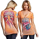 Sinful Ramona Juniors V-Neck T-Shirt - Mandarin Orange Burnout