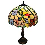 Lighting Web Co 25 cm Glass Scalloped Tiffany Easy Fit Shade, Beige and Mottled Red