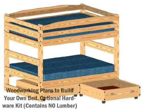 Bunk Bed Woodworking Plan Full over Full Size Bunk with Two Large Storage Drawers