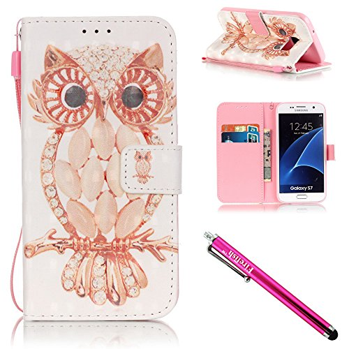 Galaxy S7 Case, Firefish Stand Flip Folio Wallet Cover Shock Resistance Protective Shell with Cards Slots Magnetic Closure for Samsung Galaxy S7-Owl (Gold Vent Cover compare prices)