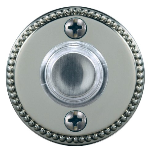 Heath/Zenith HX-703-SN Wired Push Button with Recessed Mount with LED Halo-Lighted Center, Satin Nickel