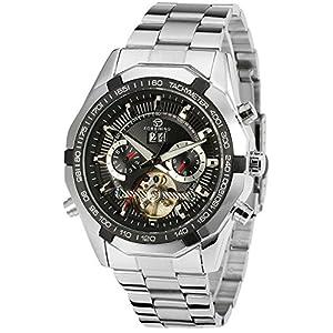 PASOY Men's Automatic Machinery Blakc Dial Tourbillion Watch Silver Stainless Steel Men Watch Calendar