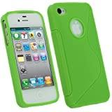 IGadgitz Dual Tone Green Durable Crystal Gel Skin (Thermoplastic Polyurethane TPU) Case Cover for Apple iPhone 4 HD & 4S 16GB 32GB 64GB + Screen Protector