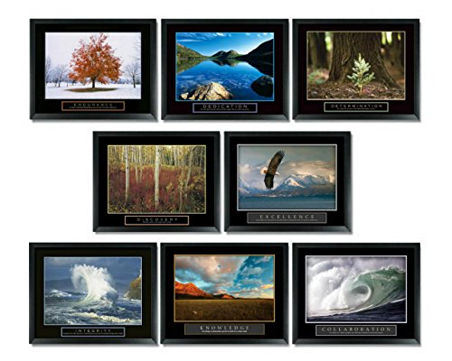 8 Framed Motivational Posters Inspirational Office Decor Collection 22X28 (Framed Motivational Pictures compare prices)