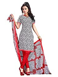 Charming Black & Red Coloured Printed Dress Material