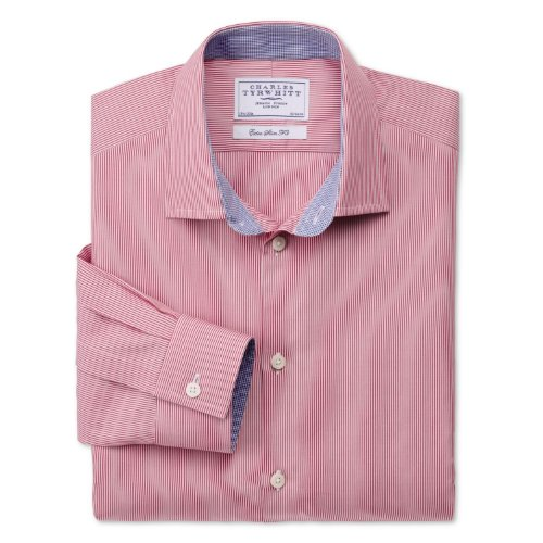 Charles Tyrwhitt Pink fine stripe business casual extra slim fit shirt (16.5 - 35)