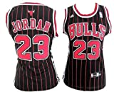 WOMEN NBA Chicago Bulls Black Red Stripe Jersey, Michael Jordan