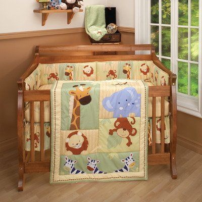 Little Bedding Traditional Padded Bumper, Safari Kids - 1