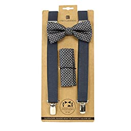 Men\'s Charcoal Geometric 3 PC Clip-on Suspenders, Bow Tie & Hanky Set