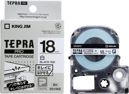 Rey Jim cartucho de cinta Tepla PRO 18 mm blanco SS18KE