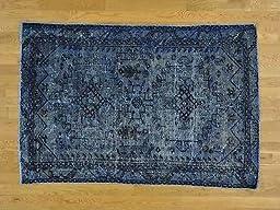 4\'x6\' Handmade Worn Down Overdyed Persian Hamadan Oriental Rug G25271