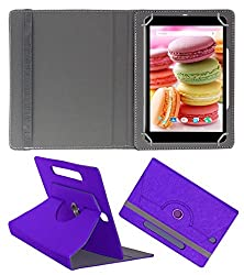 Acm Designer Rotating Case For Lava Ivory M4 Stand Cover Purple