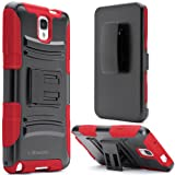 i-Blason Samsung Galaxy Note 3 Note III N9000 Prime Series Dual Layer Holster Case with Kickstand and Locking Belt Swivel Clip (Galaxy Note 3, Red)