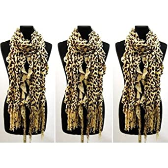 Ladies Winter Soft Feel Touch Leopard Print Scarf Camel