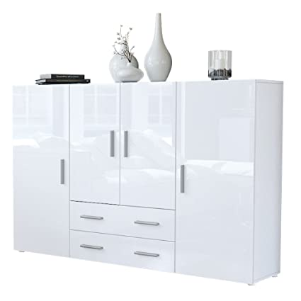 Highboard Chest of Drawers Nora, Carcass in White matt / Fronts in White High Gloss