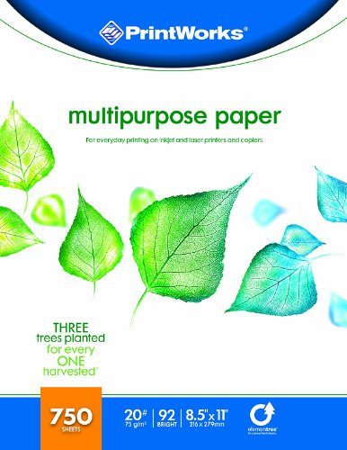 Printworks Multipurpose Paper, 20 Pound, 92 Bright, 750 Sheets, 8.5x11 Inches (00009)