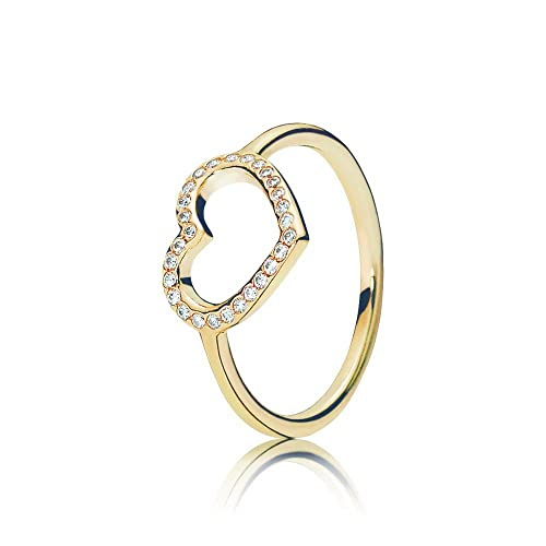 Pandora Women's Ring Heart 585 Yellow Gold Erobertes 150179CZ-White Zirconia