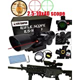 BTC Tactical 2.5-10x40 Rifle Scope with Illuminated Range Finder Reticle and Built-In Red or Green Laser Sight Reflex Picatinny Mount