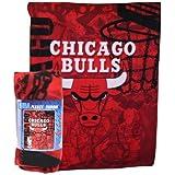 Chicago Bulls NBA Flames Lightweight Fleece Throw Blanket (50x60)