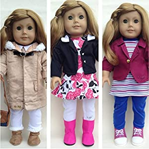 """In-Style Doll Clothes for American Girl Dolls 18 Inch Three Outfits Doll Clothes Sets 18"""" Doll Dress Winter Coat. Includes In-style Care Guide(tm) and Links to More Fun Activities! from In-Style Doll Clothes"""
