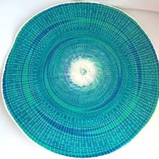 Round Braided Place mat, 15-inch Place Mat for Dining, Set of 4 (Blue & Emerald Green) (Night Stand Mini Fridge compare prices)