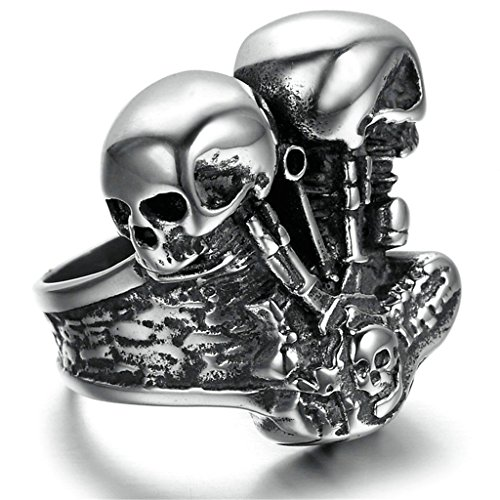 Men Bands Stainless Steel Two Dead Head Punk Rings Gothic Black Silver 26*26MM Size 11 by Aienid (Dead Center Carbon compare prices)